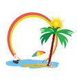 Beauty beach an palm tree vector