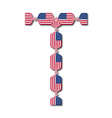 Letter t made of usa flags in form of candies vector