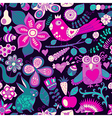 Forest seamless pattern floral backgroundowl vector
