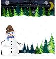 Night winter woodland scene with cute snowman vector