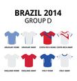 World cup brazil 2014 - group d teams jerseys vector