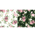 Set of seamless floral patterns with roses vector