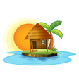An island with a small hut vector