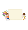 Little girl and boy with blank paper vector