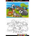 Mustelids animals cartoon coloring book vector