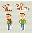 Sick and healthy characters vector