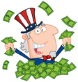 Uncle sam playing in a pile of cash vector