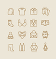 Woman clothes icons vector