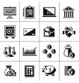 Finance icons set black vector