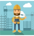 Man standing infront of construction crane tower vector