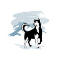 Husky wild dog wolf retro vector