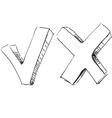 Yes and no symbol sketch vector