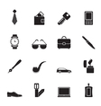 Silhouette man accessories icons and objects vector
