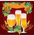 Glasses beer with wheat and hops vector