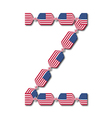 Letter z made of usa flags in form of candies vector