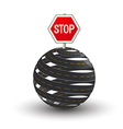 3d roads and stop sign vector