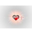 Medical symbol ekg red heart center vector