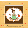 Baby announcement card with pregnant woman vector