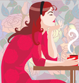 Girl in red with a coffee cup vector