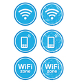 Wifi internet zone blue vintage labels set vector