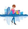 Young woman with shopping bag in city vector