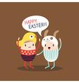 Cute happy easter egg cartoon vector