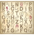 Doodle alphabet design on grunge background vector