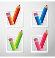 Flat color paper pencils check box vector