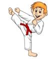 Boy cartoon doing martial art vector