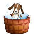 A dog taking a bath at the bathtub vector