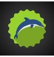 Summer travel sea dolphin flat icon vector