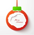 Red torn paper christmas ball vector