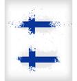 Grunge finnish ink splattered flag vector