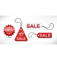 Set of red discount ticket labels and tags vector