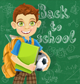 Banner back to school a boy with a backpack vector