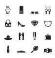 Silhouette woman and female accessories icons vector