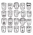 Sketch emoticons set vector