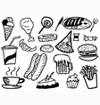 Doodle junk food background vector