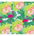 Seamless flamingo bird pattern vector