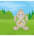Rabbit girl with carrot in summer forest vector