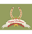 Christmas horseshoe background with holly berry vector