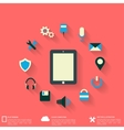 Flat abstract background with web icons interface vector