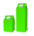 Green paper milk product tetra pack container set vector