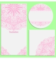 Set of invitation cards with beautiful pink lace vector