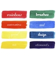 Set of rainbow colors watercolor brushes vector