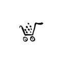 Black shopping cart icon trolley isolated on vector