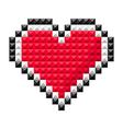 Pixel heart red vector