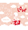 Balloons love girl with bubbles vector