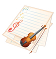 An empty paper with a violin and musical notes vector