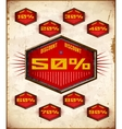 Set of vintage labels with sale discount percents vector